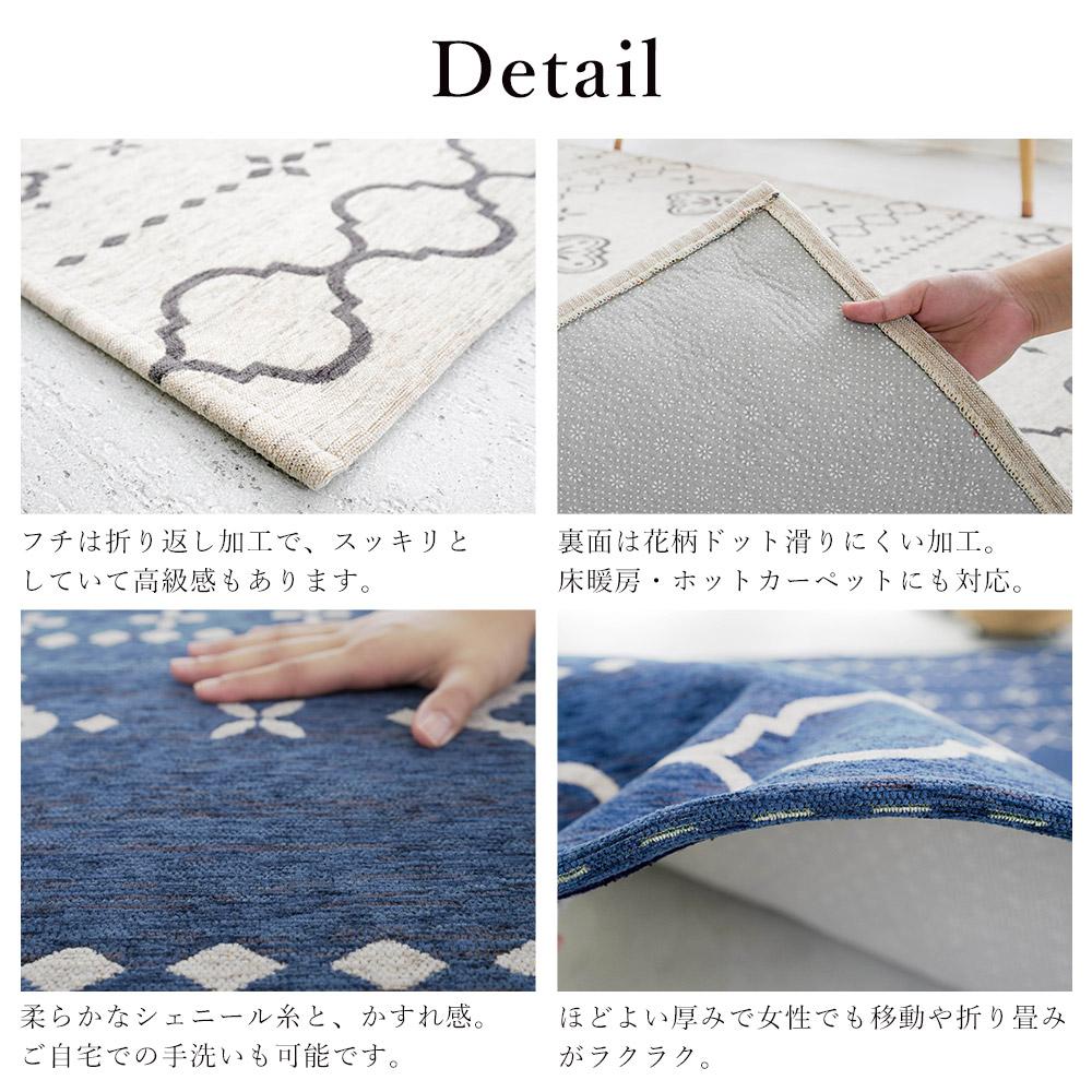 フチは折り返し加工/裏面は滑りにくい加工/手洗い可能/移動や折り畳みがラクラク