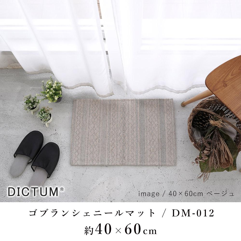リブニットデザインのゴブラン織り シェニールマット 玄関マット DM-012 約40×60cm