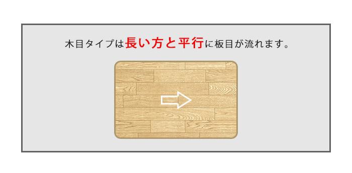 木目タイプは長い方と平行に板目が流れます。