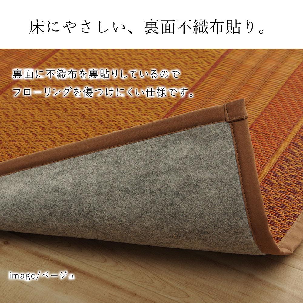 裏面はポリエステル100%の不織布貼りなので、フローリングを傷つけにくい。