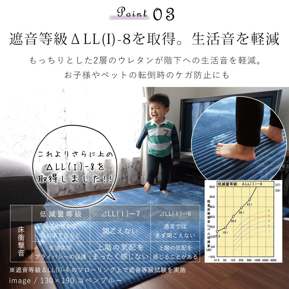 もっちりとした2層のウレタンが階下への生活音を軽減。お子様やペットの転倒時のケガ防止にも