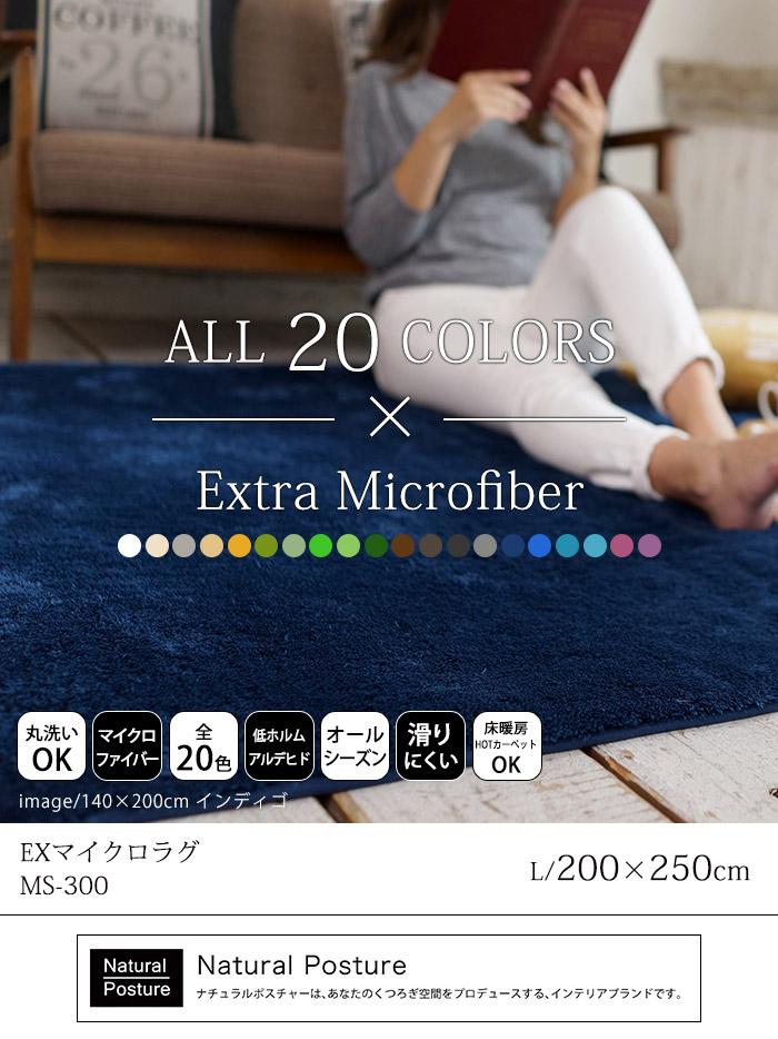 EXマイクロファイバーラグ/Lサイズ/約200×250cm/約3畳相当