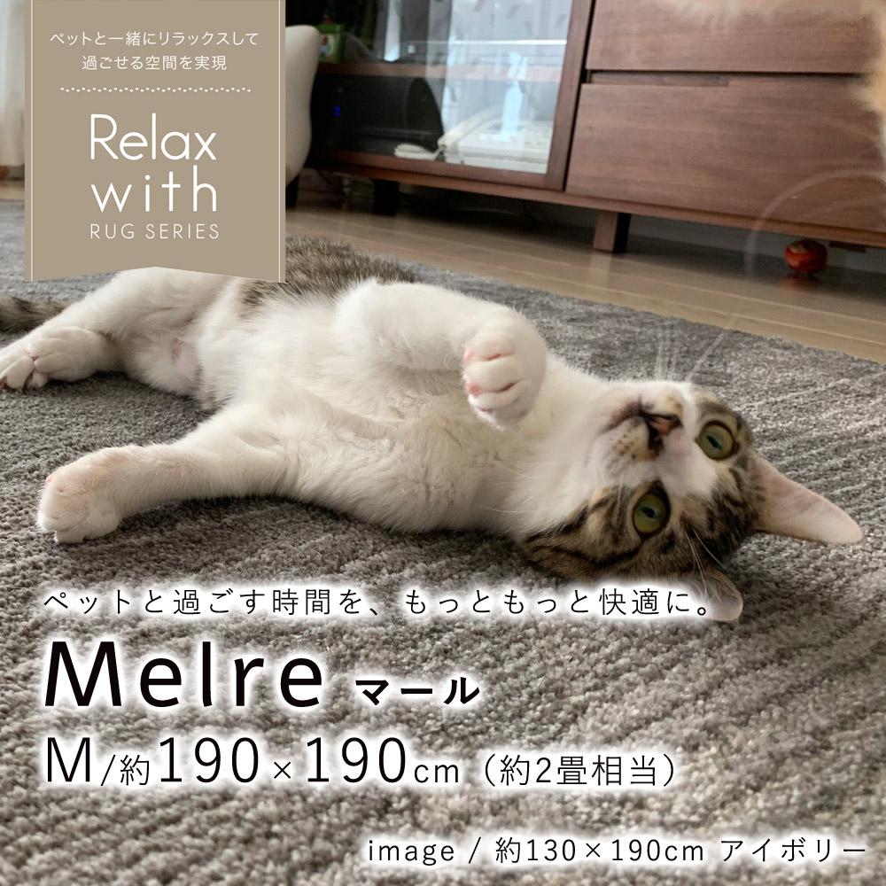 ペットと暮らすご家庭にぴったりの、お掃除楽々、消臭ラグ マール Mサイズ/約190×190cm(約2畳相当)