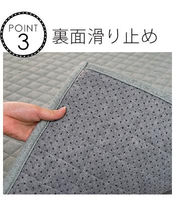 裏面は耐熱のドットすべり止め加工。耐熱なので床暖房やホットカーペットもOKです。