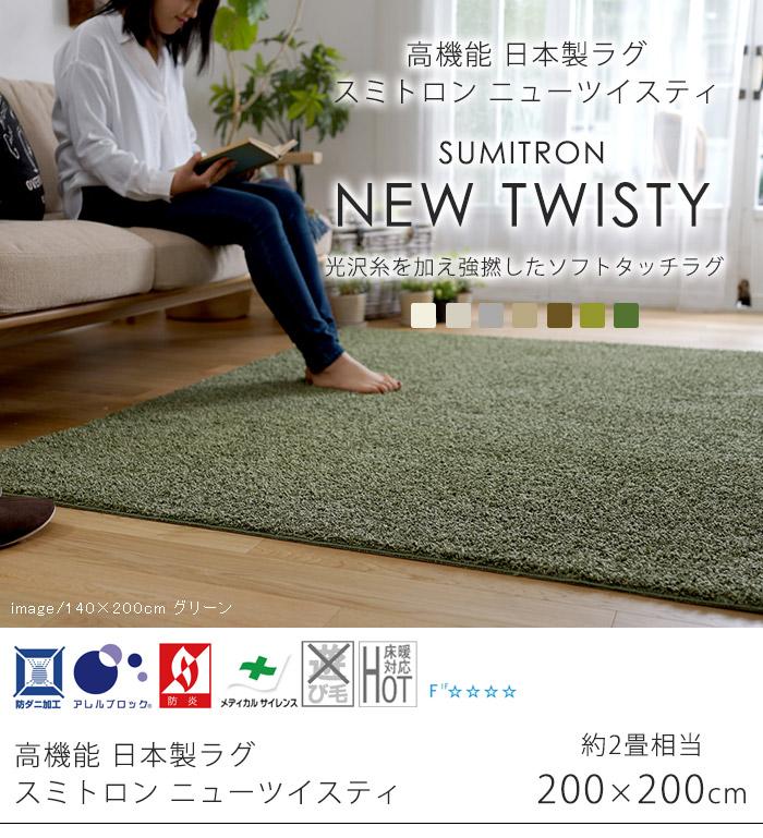 高機能 日本製ラグ スミトロン ニューツイスティ Mサイズ/約200×200cm(約2畳相当)